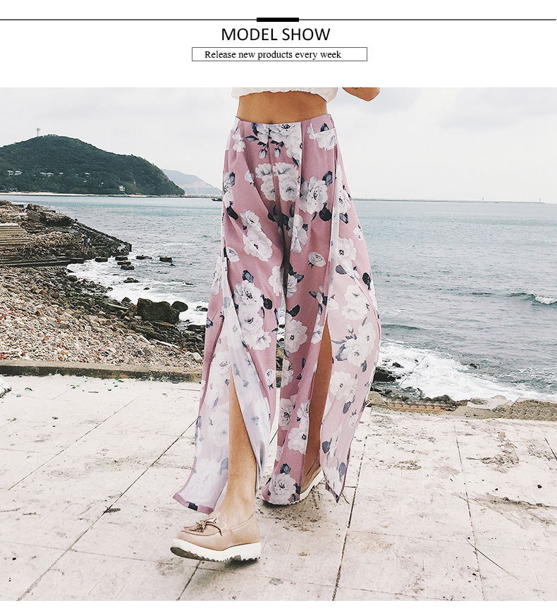 2018 Women Pants Beach Floral Print High Waist Plus Size Loose Chiffon Casual Wide Leg Pants Pink Split Sexy Women Trousers Sale 5