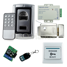 Full kit fingerprint scanner biometric access control kit F007+electric control lock+power supply+exit button+remote control