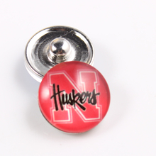 Nebraska Cornhuskers 18mm Glass Snap Button Fit Ginger Snap Bracelet Bangles NCAA Football Baseball Series Jewelry 10pcs
