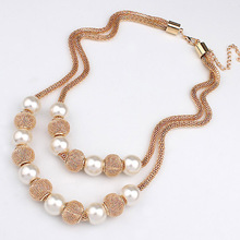 LNRRABC Women Lady Girl Fashion 2016 Trendy jewelry Layers Imitation Pearl Ball Pendant Necklace Gift Statement