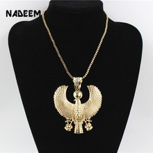 Newest Fashion Metal Gold Color Egyptian Horus Bird Falcon Holding Ankh Pendant Necklace Bib Chain Choker Animal Hiphop Necklace(China)