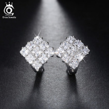 9 pieces 0.1ct AAA Austrian Crystal Paved Cute Geometric Zircon Earrings Small Loop Design Fashion Jewelry for Girls OME19