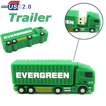 new trailer truck usb flash drive green Container car pendrive pen drive 4gb 8gb 16gb 32gb real capacity memory disk gift toy