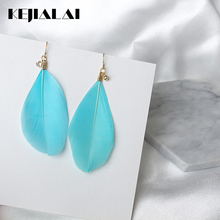 KEJIALAI Fashion Feathers Shiny Zircons Retro Earrings Female Earrings Influx People Exaggerated Personality Earrings LY-C2004(China)