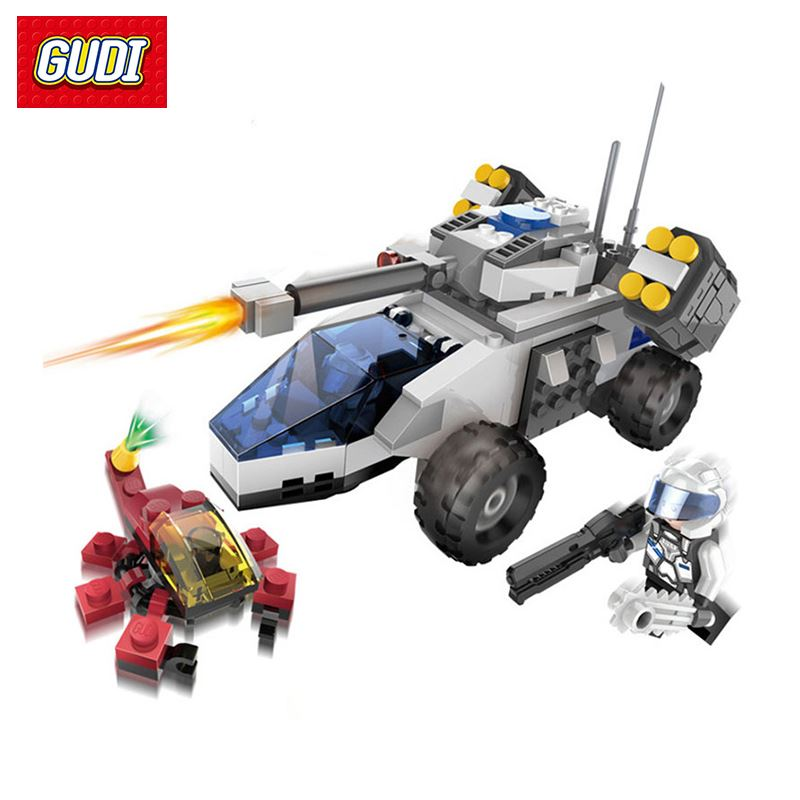 GUDI Earth Border Military Series Assembled Building Blocks Toys War Car Chariot Truck Vehicle Model Bricks Gift For Children<br>