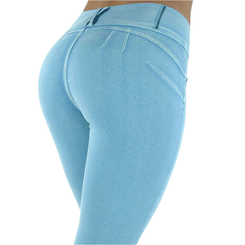 Sexy Push Up Leggings, Women's Denim Leggings, Casual Elastic Jeggings 2