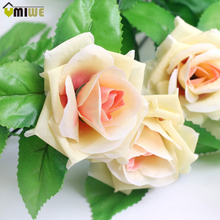 Umiwe 240cm 9 pcs Fake Silk Roses Outdoor Artificial Ivy Vine Plants Garlands Roses Flowers With Leaves For Home Wall Decoration(China)