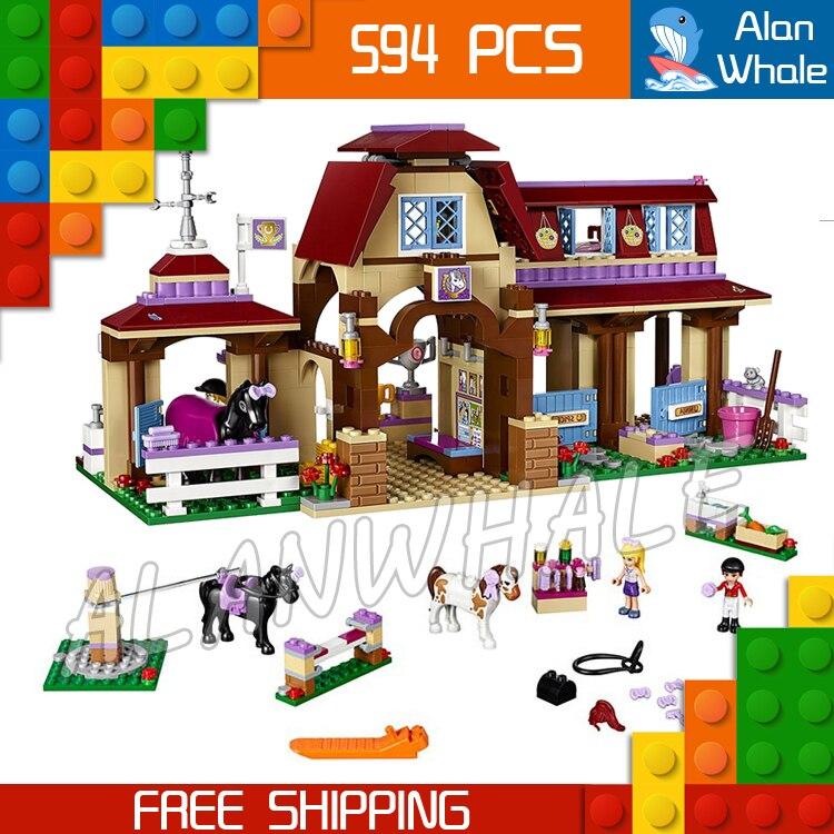 594pcs 10562 Heartlake Riding Club Building Kit 3D Model Blocks Children Toys Compatible with Lego<br>