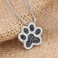 Pendant Necklace for women girl Personalized charming Fashion jewelry Silver plated Black and White crystal rhinestone Dog Paw
