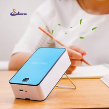 YJ HUMIDIFIER Mini Portable Bladeless Fan Cooler Cooling USB Rechargeable Battery Bladeless Fan Air Condicionado Ventilador(China)