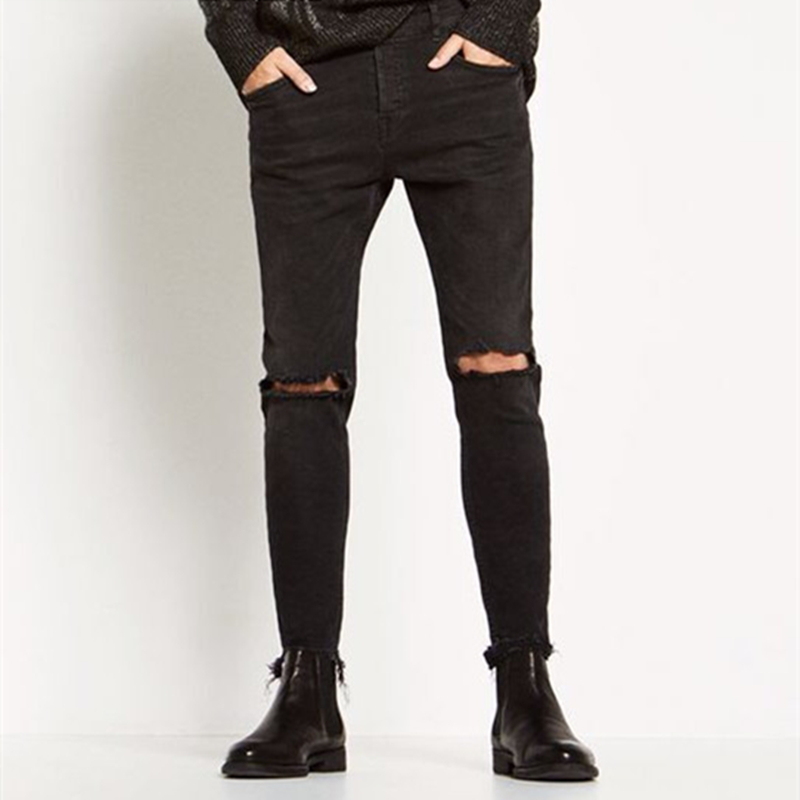 Mens fashion Ankle-Length Justin Bieber Pants Black Dark Brand Slim biker hole straight jeans Kanye West pants jeans Cooo CollОдежда и ак�е��уары<br><br><br>Aliexpress