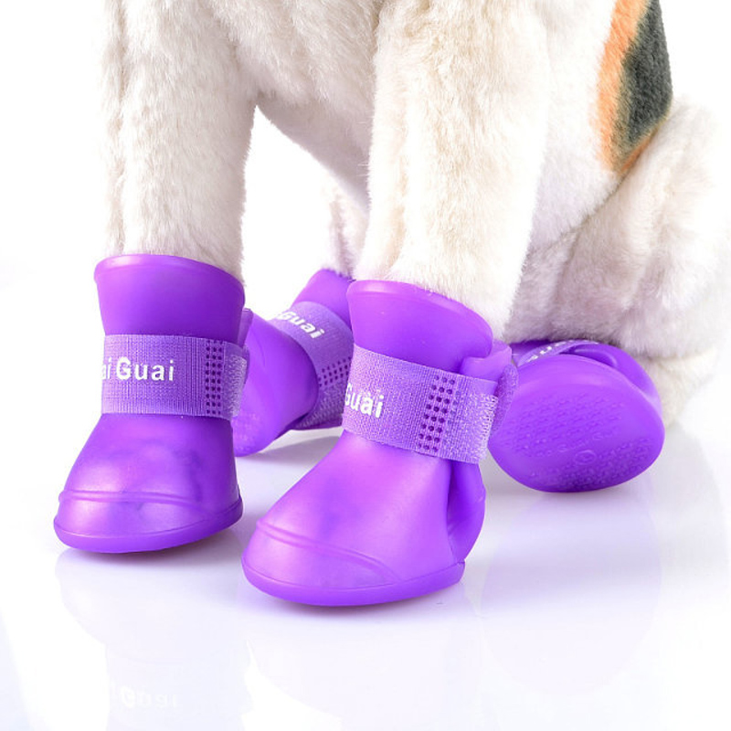 4Pc/Set Candy Color Rubber Silicone Pet Rain Boots Shoes Pet Dog Cat Non-slip Waterproof Protective Rainshoes Pet Outdoor Shoes(China)