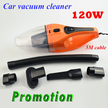 Promotion!!! 5M 120W 12V Car Vacuum Cleaner Handheld Super Suction Wet And Dry Dual Use Vaccum Cleaner For Car