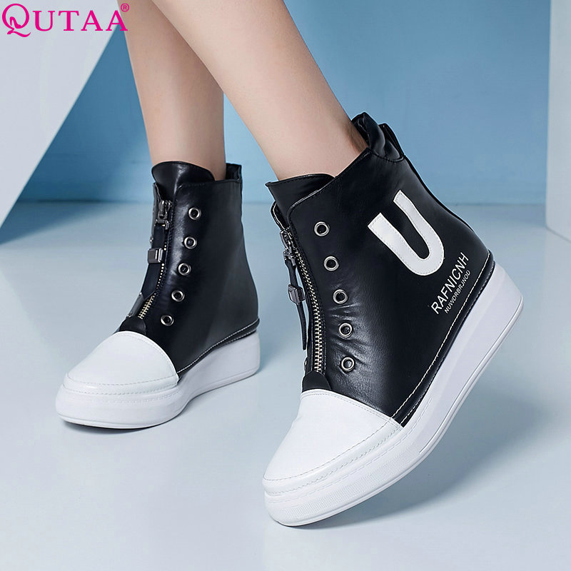 QUTAA Zipper Elegant Women Shoes PU leather Black Wedge High Heel Ankle Boots Punk Round Toe Women Motorcycle Boots Size 34-39<br><br>Aliexpress