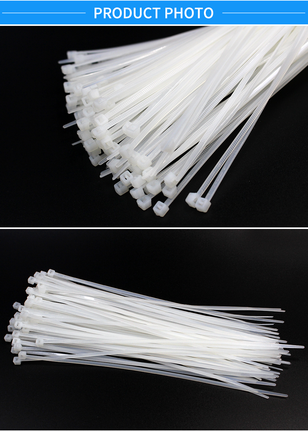 100PCS/bag 4mmx300mm Width 5mm White Milk Cable Wire Zip Ties Self Locking Nylon Cable Tie
