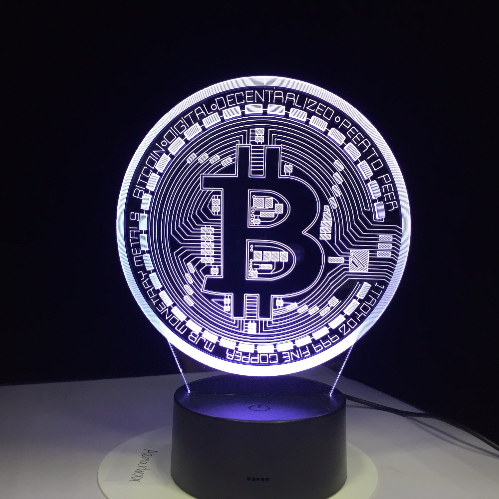 3D Led Lamp Bitcoin Sign Modelling Night Lights 7 Colorful Usb Coin Desk Lamp Baby Bedroom Sleep Lighting Fixture Decor Gifts 2