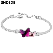 Double Butterfly Crystal from Swarovski Charm Bracelets For Women Female Design Crystals Rhinestone Jewelry 6684