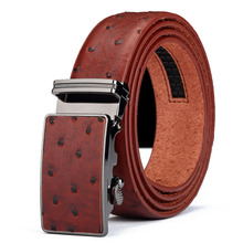 Luxury Designer Men's Leather Belts Faux An ostrich Striped Strap Automatic Buckles Belt Mens Belts Luxury Leather Designer B150(China)