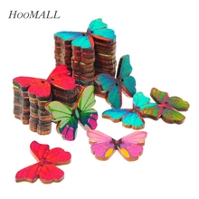 Hoomall 50pcs 2 Holes Colorful Butterfly Wooden Buttons Fit Sewing and Scrapbooking 28x21mm Sewing Buttons For Craft DIY Mixed(China)