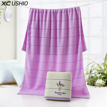 XC USHIO One Piece High Quality 100% Cotton 70*140cm Lavender Luxury Bath Towel Toallas de Mano Lovers Towel Romatic Gift(China)