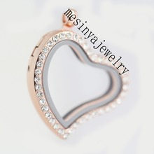 Lowest price 10pcs best quality PVD rose gold curved heart czech crystal crystal glass locket pendant for floating charms