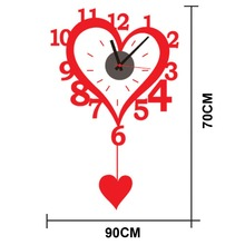 DIY classic Zooyoo brand Electronic battery heart shape with plummet digital clocks wall clock wall sticker home decor for room
