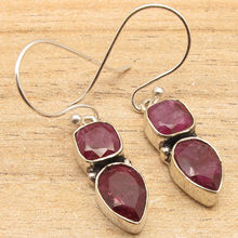 Red Faceted rubi 2 Gem Earrings !  Silver Plated Fashion Jewellery  3.6 cm including hook