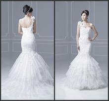 mermaid wedding dresses lace tulle custom made Suitable for all body wedding dresses beads one shoulder zipper