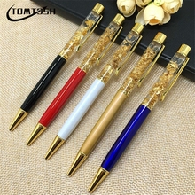 TOMTOSH 1pc 24k Gold Foil Gift Pens Metal Crystal Pen Ballpoint Pens With Gold Foil Many Colors Available Gold Foil Pens(China)
