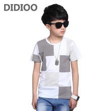 Tops for Boys O-neck Cotton Short Sleeve T-shirts Children Summer Plaid Tees Kids Big Size Clothes 14 Years Infant Boys T Shirts(China)