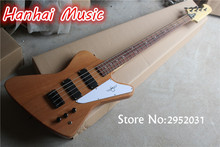 Hot Sale Custom 4-String Bass Guitar with Original Mahogany Body,Black Hardware,White Pickguard and can be Customized