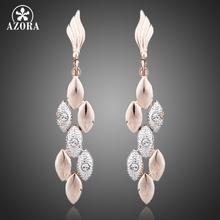 AZORA Latest Design Rose Gold Color Two Tone Wheat Ears with Rhinestones Feast Tassels Earrings TE0071(China)