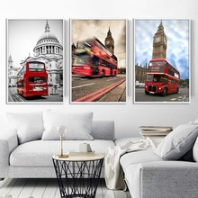 Red Bus London Bus Art Canvas Posters and Prints Lanscape Painting Cityscape Wall Pictures for Living Room Home Decor
