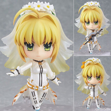 NEW hot 10cm Q version Fate stay night Saber Alternative Wedding dress mobile action figure toys collection christmas toy doll