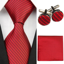 Accessories Ties for Men Solid Striped Pattern Business Silk Tie Sets Hanky Handkerchief Cufflinks Red Black Necktie Gravatas