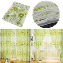 1 PC Sheer Curtain Panel Door Window Scarf Floral Curtain Drape Panel Voile Valances, voile curtains,Tulle on the window 1m*2m