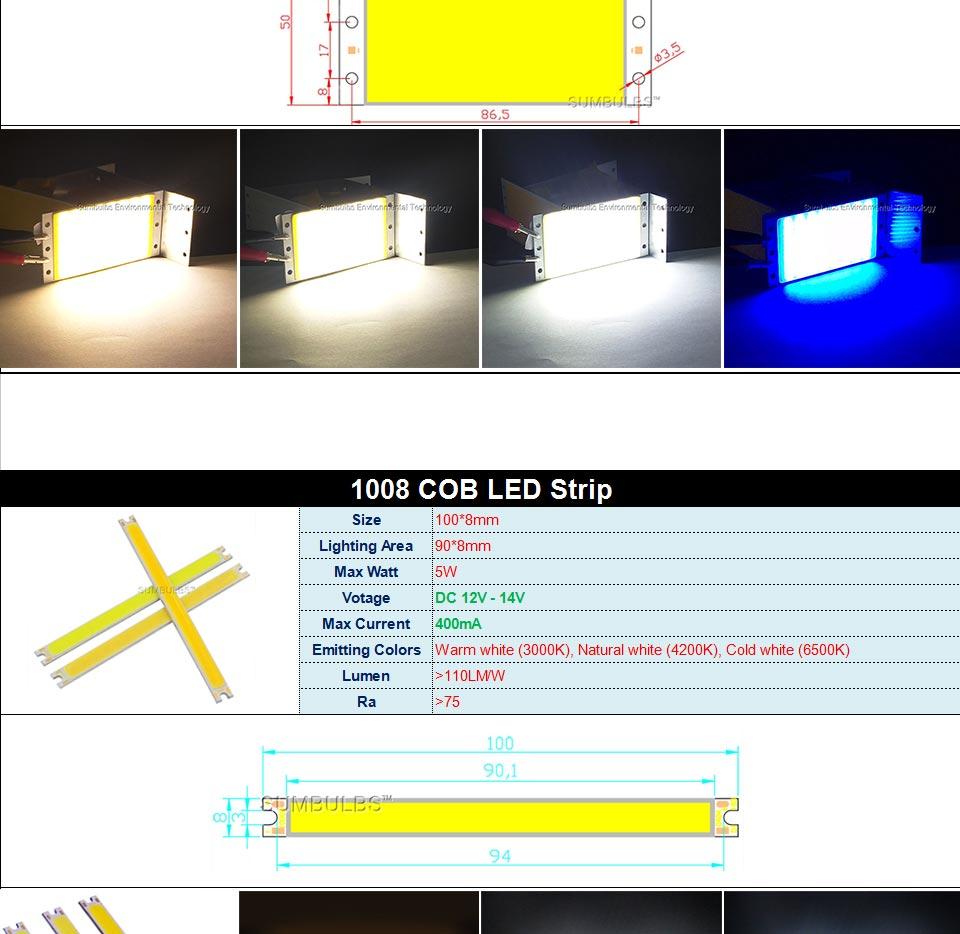 DC12V LED COB Bulb Light Emitting Diodes 2W-200W Round COB Strip White Red Blue Color 12V LED Lamp Chip for Auto Car Bulbs DIY (3)