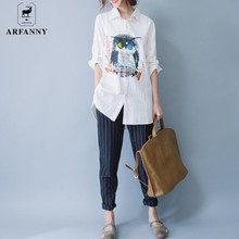 AR FANNY  shirt 2017 spring new   long sleeved cotton owl printed  Lengthen shirt .women's . blusas . cotton and linen