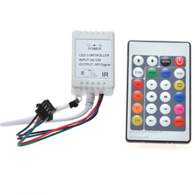 C3 1x 24Key DC12V IR Remote Controller WS2812B Contoller WS2811 200 Change Max 1-512 Pixel LED Controller