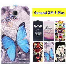 "Luxury Cartoon Printed Pattern 5.5"" Flip Up and Down PU Leather Case For General GM 5 Plus Cover Phone Bag,Gift"