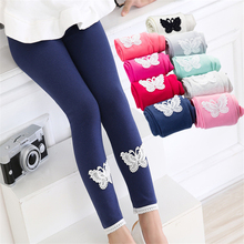 Spring Autumn Girls leggings New Kid Toddlers Warm Comfortable Cotton Soft Lace Butterfly Stretchy Pants Hot Trousers(China)