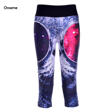 Women Mid-Calf Leggings Sexy 3D Glasses Cat Digital Print Legging Fitness Cropped Trousers Elastic Breathable Capris CJO-251(China)