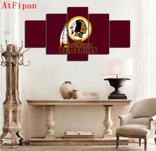 AtFipan Modular Wall Paintings 5 Panel Washington Redskins Sports Logo Poster Modern Painting on Canvas Pictures For Living Room