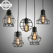 Buy Metal Cage Contemporary Industrial Pendant Light Hanging Lamp Bulb lighting Fixture Latest loft Pendant Lamps LIving room for $23.50 in AliExpress store