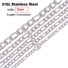 Never Fade 7.0mm(width) Stainless Steel Figaro Chain Statement Men Necklace Link Chain Wholesale