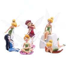 6 Pieces/Set Flower Pixie Fairy Miniature Figurine Dollhouse Garden Ornament Decoration Crafts Figurines