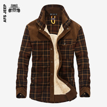 AFS JEEP Winter Warm Plaid Casual Shirt Men Flannel Thick Dress Shirts Long Sleeve Fashion Cotton Quality British Fleece Wear(China)