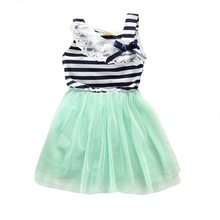 2017 Striped Baby Girls Dress Lace Collar Bowknot Dress Kids Clothes Tutu Tulle Dresses Party Wedding