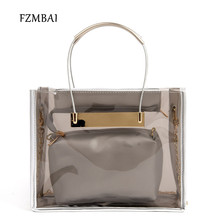 FZMBAI Cute Jelly Top-handle Bags Women's Casual Transparent Handbag Plastic Messenger Bags with Chains