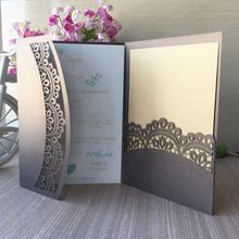 20pcs Lot Elegant Tri Fold Design Invitation Card Business RSVP Cards Wedding Birthday Party Decorations